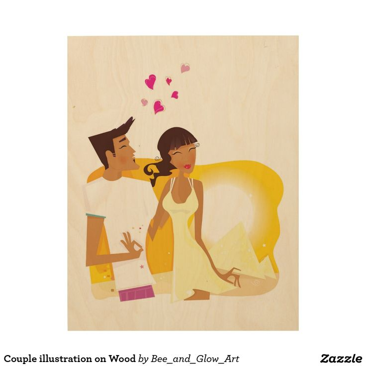 Couple illustration on Wood Wood Print