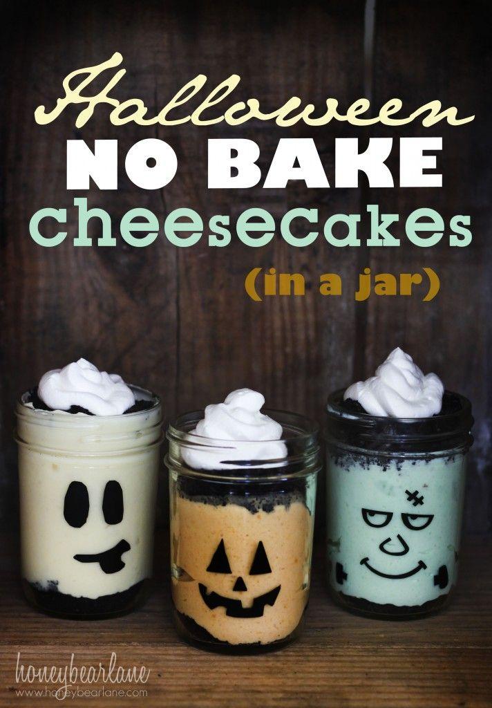 halloween no bake cheesecakes in a jar