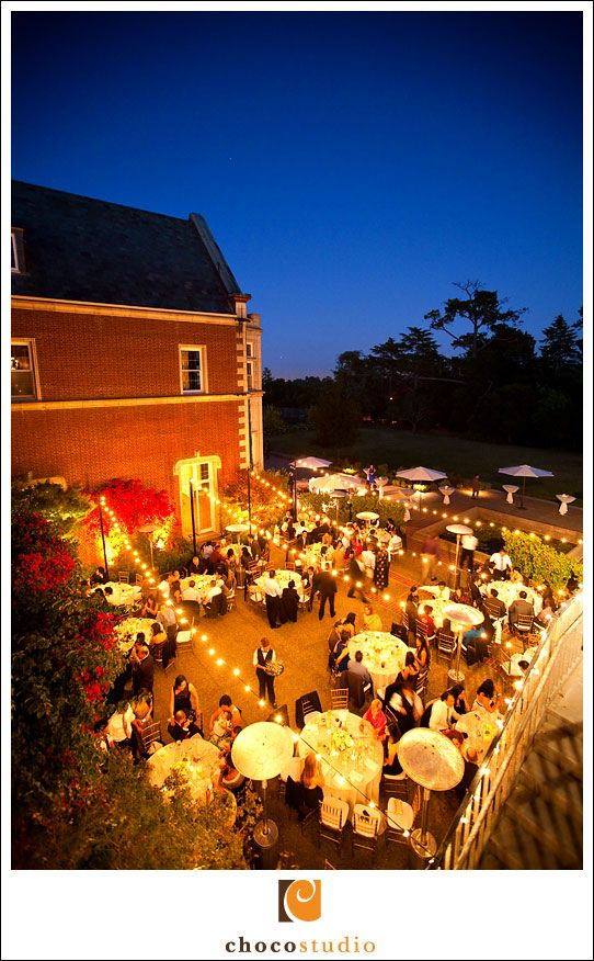 Outdoor evening wedding reception at Kohl Mansion Burlingame at Dusk