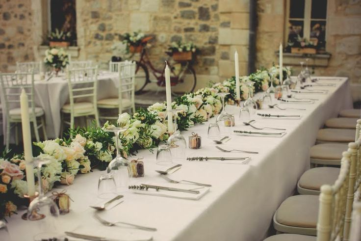 Top table floral runner in the palest of shades by Le Coeur Sauvage for Becs and Nigels wedding at Chateau de Lisse