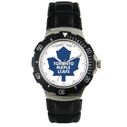 NHL Men's HD-TOR Agent Series Toronto Maple Leafs Polyurethane Watch Game Time. $19.45. Rotating Bezel and Quartz Accuracy. Water-resistant to 99 feet (30 M). Quartz movement. Shock Resistant/Water Resistant (3ATM). Stainless steel case back and black textured PVC band