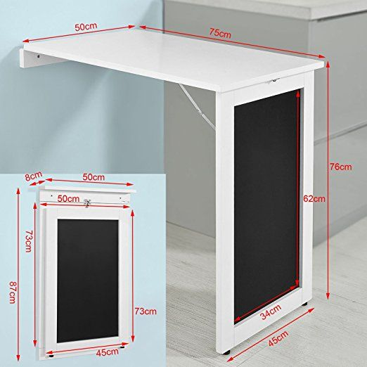 SoBuy®Mesa plegable de pared, escritorio para fijar en la pared, con pizarra frontal ,blanco,FWT20-W,ES: Amazon.es: Hogar