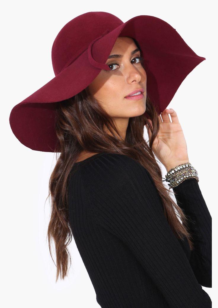 Bardot floppy wool hat in Wine   Necessary Clothing