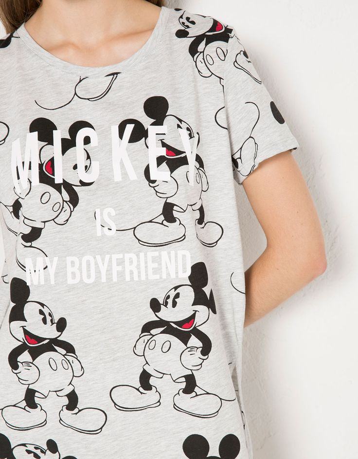 BSK all over Mickey Mouse print T-shirt - T- Shirts - Bershka United Kingdom