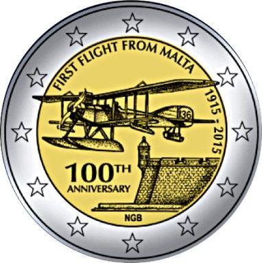 """Moneta commemorativa """"100° Anniversario del primo volo da Malta"""" Anno: 2015 Stato: Malta"""