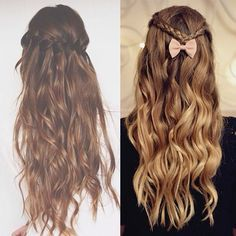 pretty curls & braids & bows in half up half down styles long hair waves long ombre hair curls for prom party Join Our Instagram with @VP Fashion or #vpfashion.