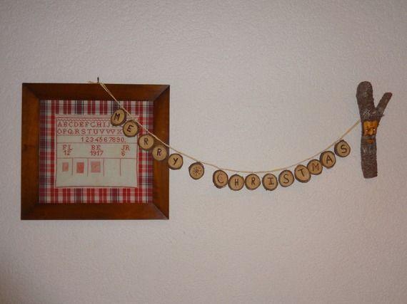 Guirlande décorative personnalisable Noël - bois de cerisier