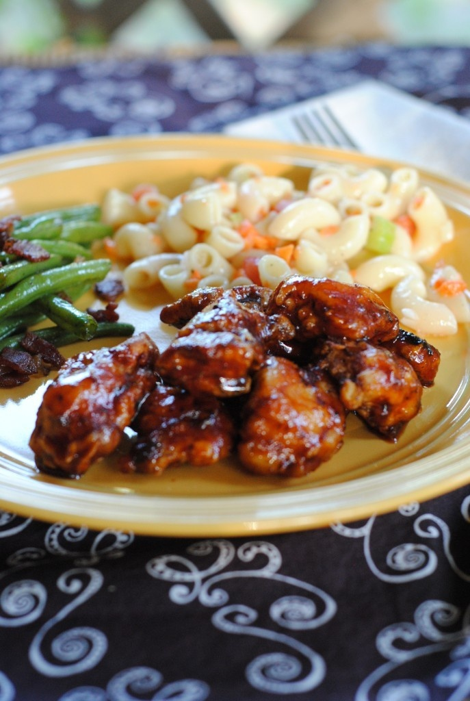 Boneless chicken wings coated in a sweet and tangy homemade honey BBQ sauce!