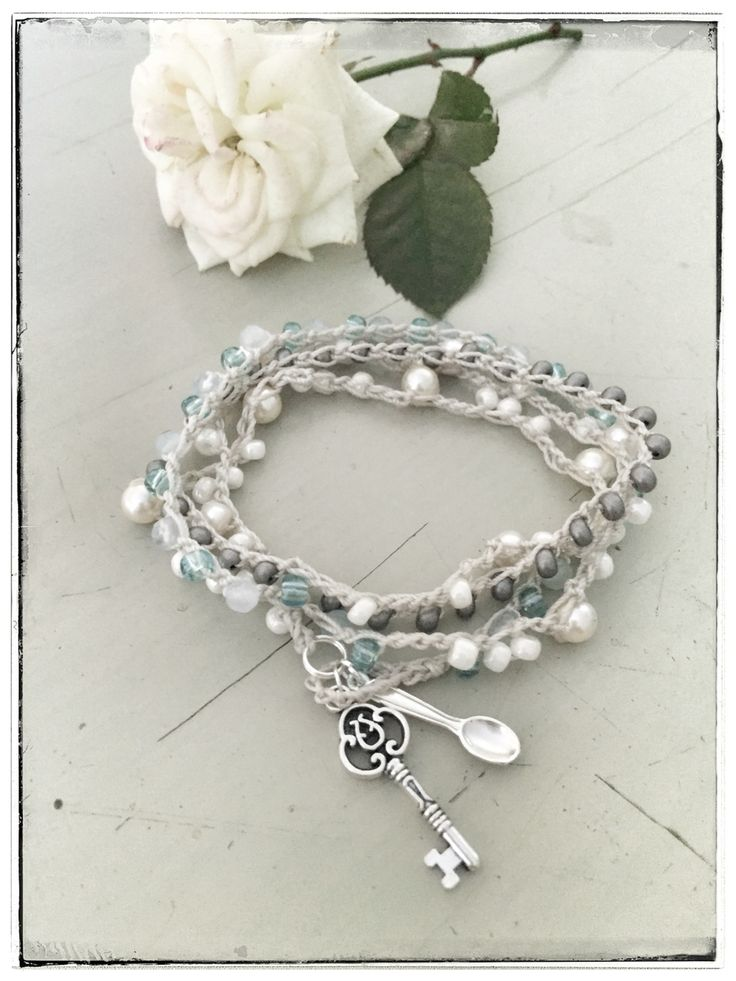 Boho beach luxury crocheted bracelet, sea pearls, Swarovski pearls, aquamarines, Miyuki beads... www.varalusikka.fi