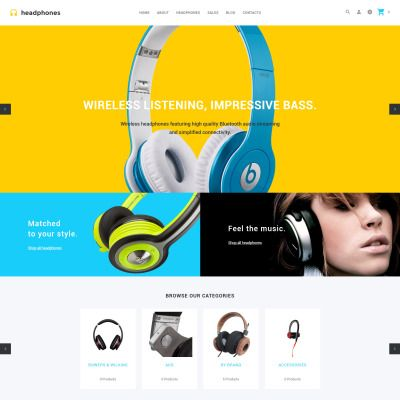 Headphones  Headphones - Responsive Audio store OpenCart template   RTL