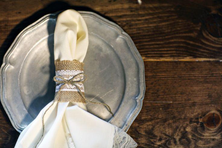 Rustic wedding.  Scandinavian wedding.  Pewter plate charger.  Burlap and lace wedding. @Studio Laguna Photography