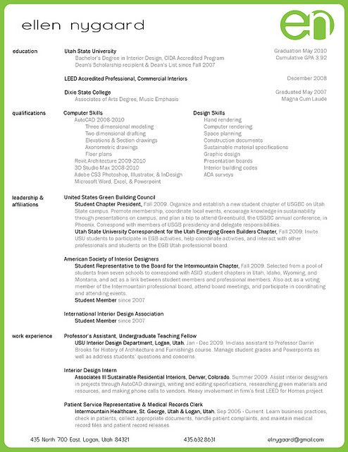 interior design resume