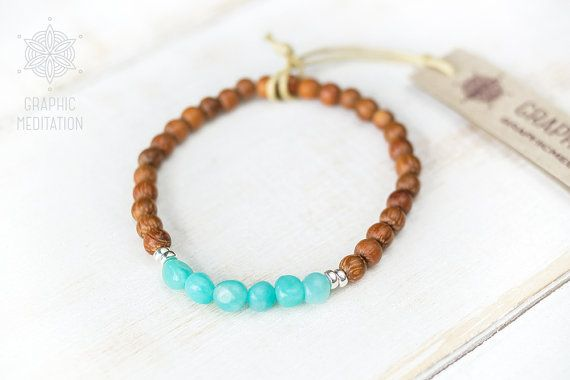 Natural blue amazonite bracelet Wooden by GraphicMeditation