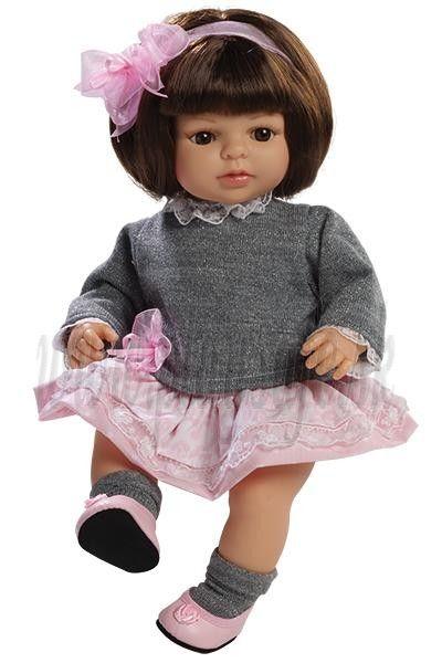 Berjuan Bábika s látkovým telíčkom Laura brunetka, 40cm