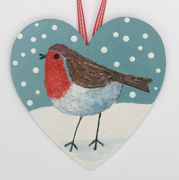 'Robin'-mixed media on a wooden heart (SOLD)