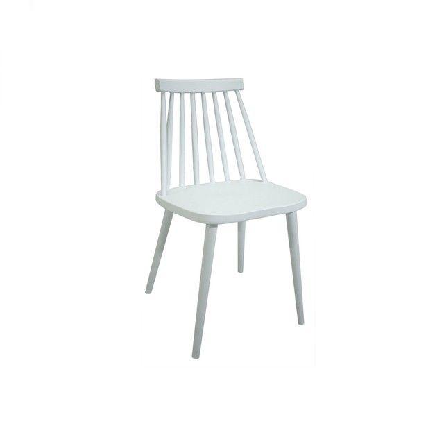 Silla Windsor Blanca Material: Plástico Medidas: 40 (ancho) x 44 (prof) x 86 (h) cm. Altura asiento: 46 cm. Disponibilidad sujeta a stock.
