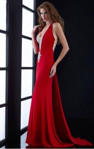 Nice Sheath Floor-length Jersey Sleeveless Evening Dress