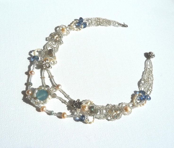 Blue Moon luxury necklace, miyuky seed beads, blue agate, pearls, labradorite, and blue glass beads