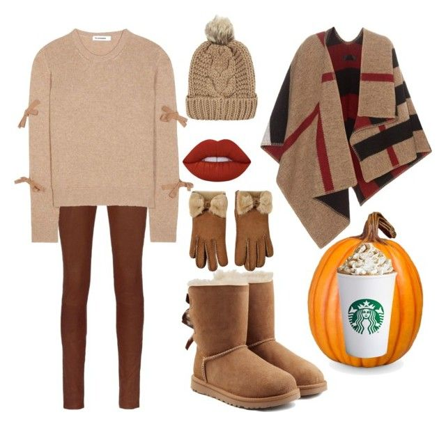 """Pumpkin spice latte"" by ellenfischerbeauty ❤ liked on Polyvore featuring rag & bone, Jil Sander, UGG, Burberry, UGG Australia, Chicnova Fashion, Improvements, Lime Crime, starbucks and ugg"