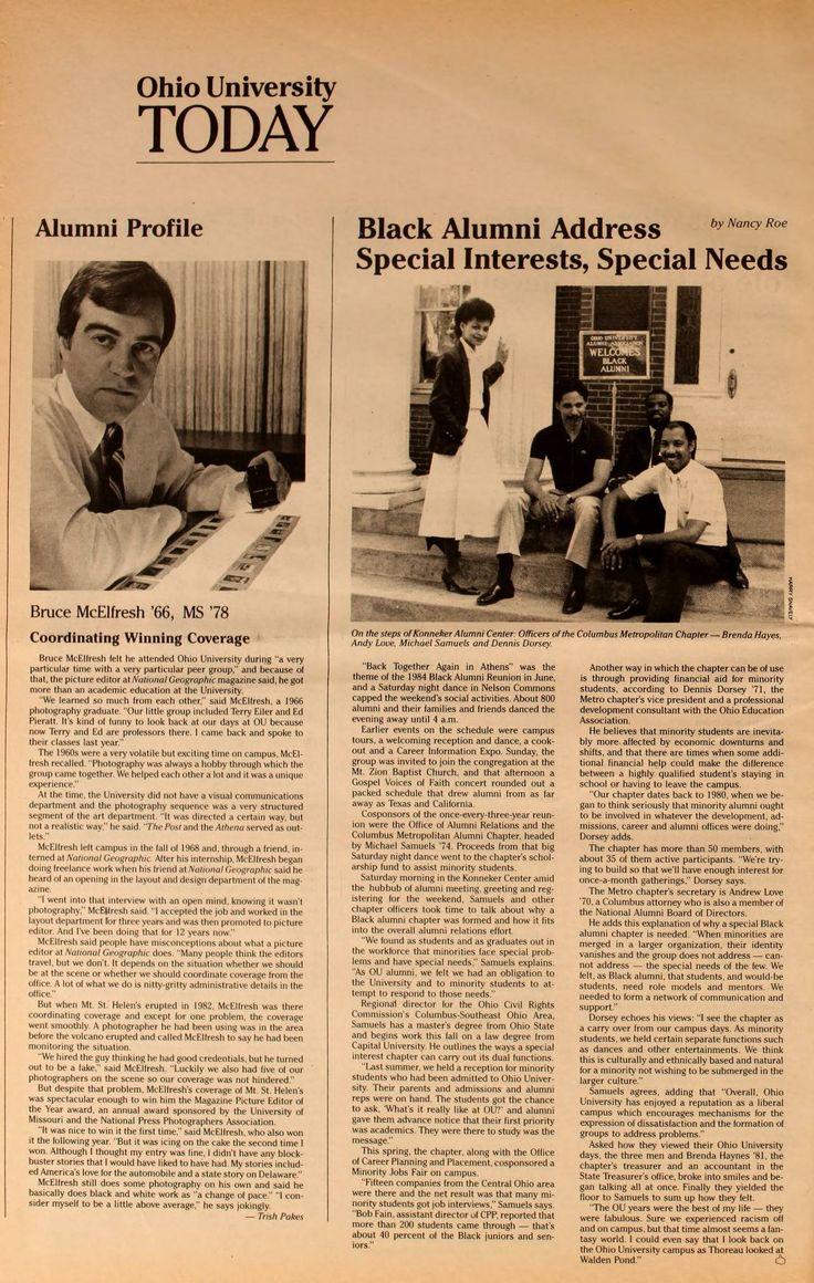 Ohio University Today, Summer 1984. Black Alumni Address Special Interest, Special Needs. :: Ohio University Archives