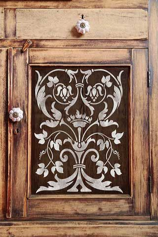 Stencil Idea for Cabinet Doors | Firenze Classic Panel Stencil | Royal Design Studio: