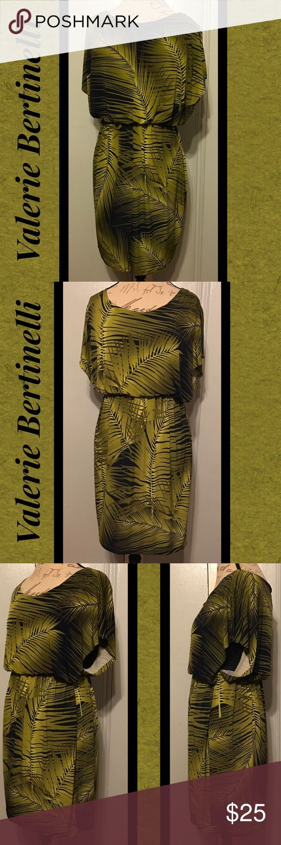 """VALERIE BERTANELLI Perfect Olive/Black Palm Dress SIZE 6. 33"""" Length. 26""""-36"""" Waist. 36"""" Bust. Olive Green & Black Colors. Palm Leaf Design. Fitted Black Under Tank. Elastic Waist. Inner Lining Has Small Run-c pics. Otherwise Perfect Condition. Valerie Bertanelli Dresses Midi"""