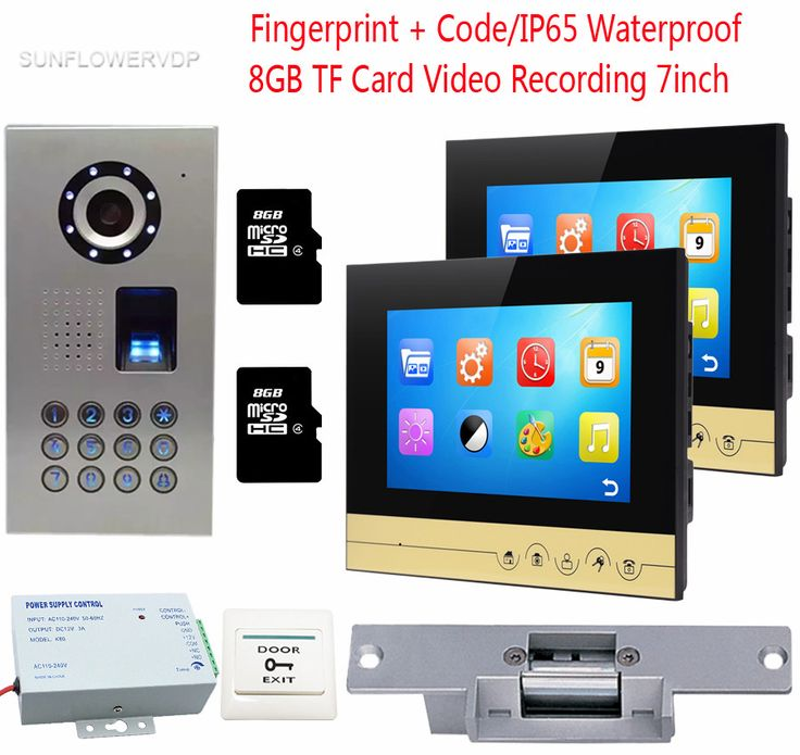 Fingerprint Door Bell With Camera 2 Monitors 8GB TF Card Recording Door Phone IP65 Waterproof Code + Electronic lock Video Door