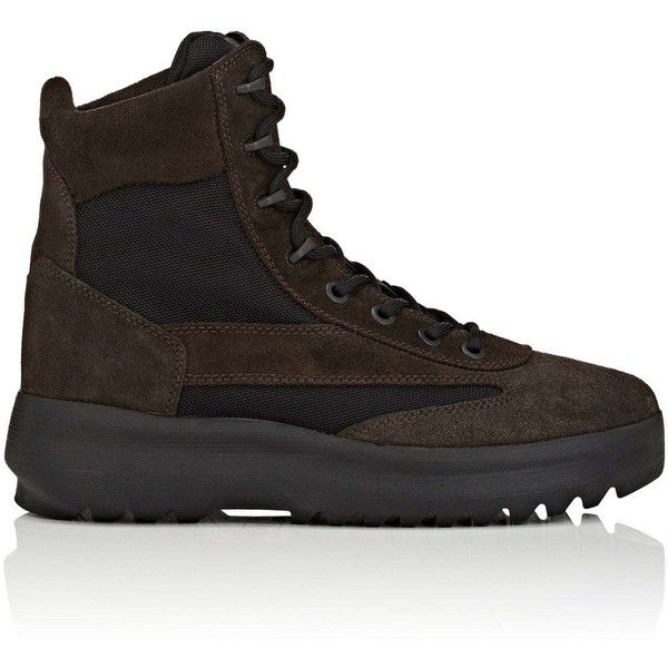 Yeezy Men's Men's Suede & Nylon Military Boots ($550) ❤ liked on Polyvore featuring men's fashion, men's shoes, men's boots, mens suede lace up shoes, mens lace up shoes, mens lace up boots, mens suede lace up boots and mens military boots