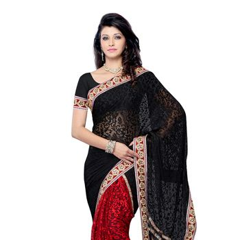 Black and Red Faux Georgette Brasso Saree with Blouse