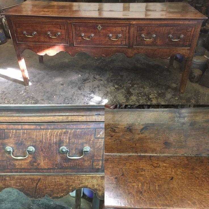 Antique oak 18th century dresser base
