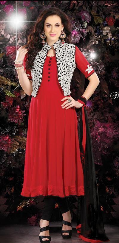 $150.36 Red Faux Georgette Embroidered Anarkali Salwar Kameez 26407