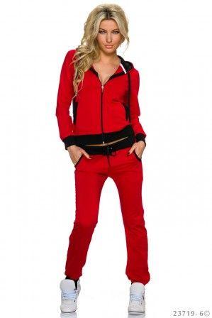 Dámská tepláková souprava s kapucí  - červeno-černá aff#