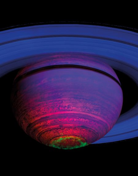 False color composite image of southern lights on Saturn.