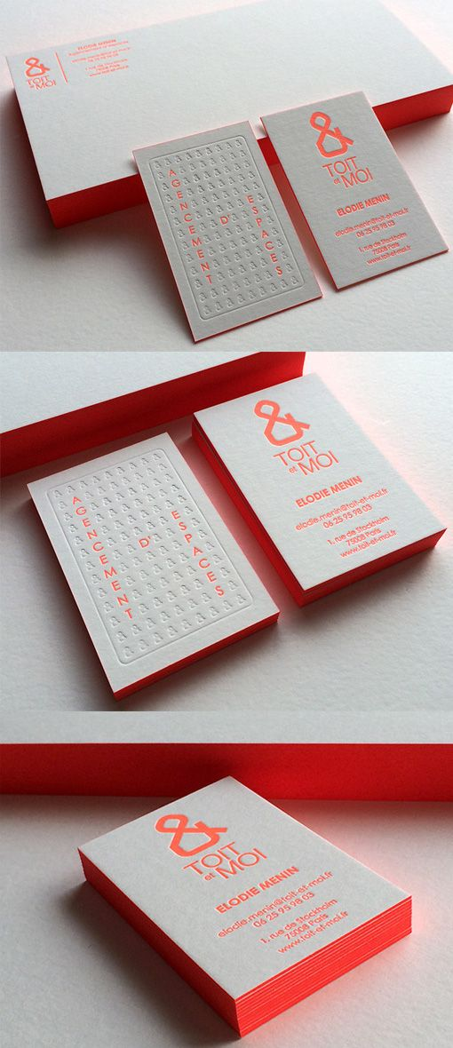 Textured Neon Edge Painted Letterpress Business Card Design