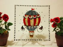 Mongolfiera Old school / Vassoio con mosaico