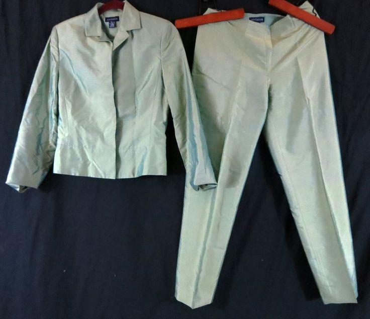 Ann Taylor 6 Silk Lime Green Pant Suit Sharp Looking! #AnnTaylor #PantSuit