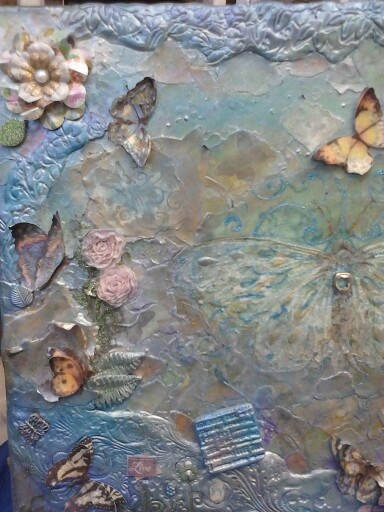 Mixed media canvas butterflies