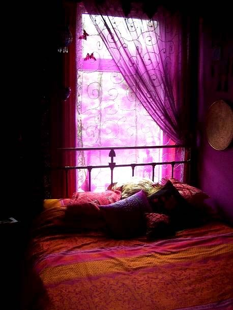 secretdreamlife:    Bohemian bedroom...love the tranquility of the purple wall
