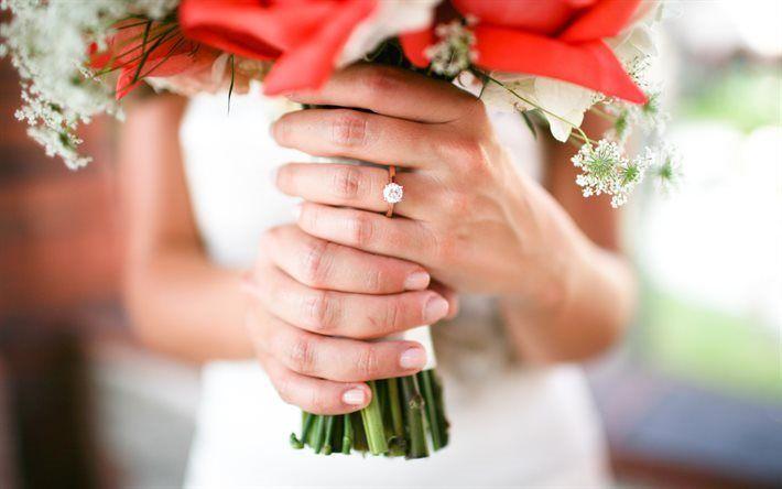 Scarica sfondi sposa, matrimonio, bouquet da sposa, le mani, gli anelli di nozze