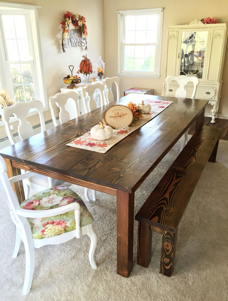 French country farmhouse table wood table dining room for Rustic shabby chic dining table
