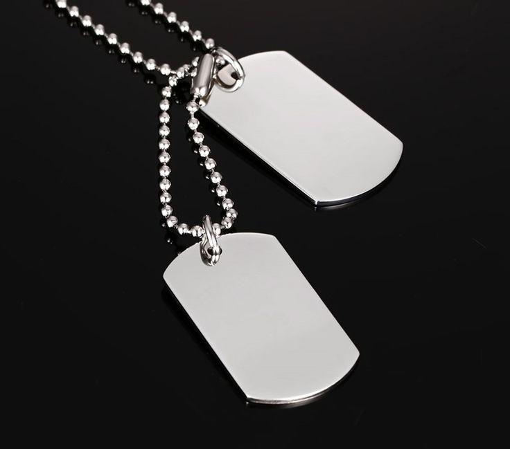 VNOX Нержавеющей Стали Dog Tag Ожерелье Классические Моды для Мужчин Ожерелье Ювелирные Изделия Полированный