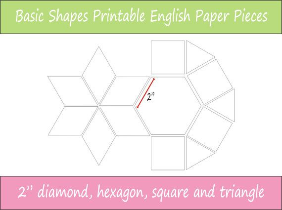 2 finished size Basic Shapes Printable English Paper Piecing Pieces ready for instant download.  These are perfect for the sewer who wants to be able to print and cut her EPP pieces at any time, once you have downloaded this file you have it for reprinting whenever you wish.  This pack of printable sheets includes the following shapes with 2 sides that will work together in the one project:  - hexagon - diamond - square - equilateral triangle  These templates are available in the following…
