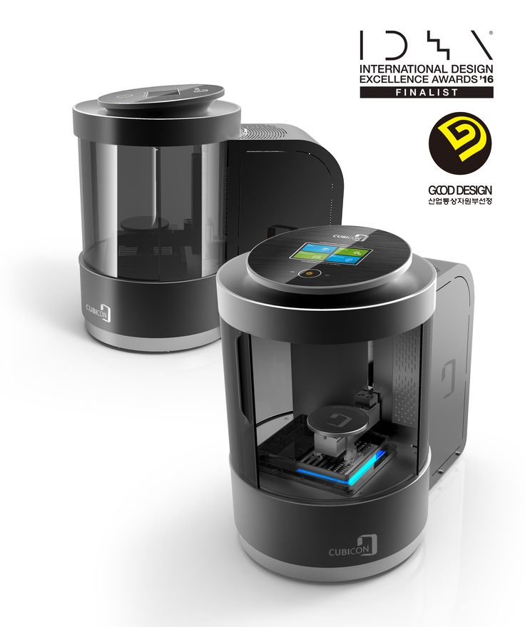 |CUBICON Lux. |Designed by Seom Gyun Lee. |IDEA 2016 Finalist. |GoodDesign 2015. 최우수상. |CUBICON Lux is the evolution of 3D printing. Its slim and sleek cylindrical design for desktop use, saves space. A special tank keeps photopolymer liquid resin from leaking and causing health damage. Productivity is enhanced and maintenance is easy. This is the first digital light processing (DLP) 3D printer by HyVISION.