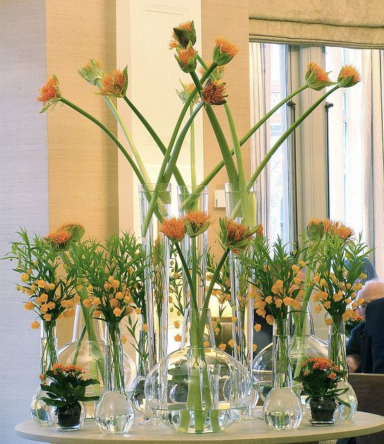 Yellow flower arrangements by the talented Ken Marten for Connaught Hotel in London.