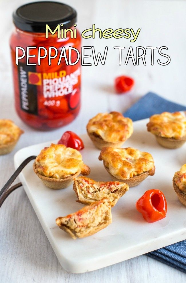 Mini cheesy Peppadew tarts - just 5 ingredients! These easy little canapés are spicy and sweet with a gooey mozzarella topping. The perfect vegetarian party food!
