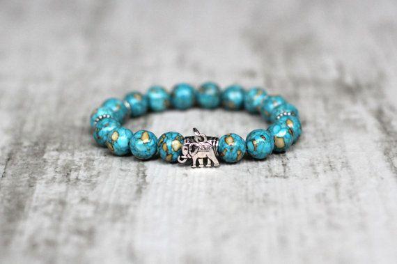 Blue women bracelet Elephant Gemstone Gift for girlfriend under 20 Boho bohemian bracelet Stretch elastic bracelet Yoga tibetan jewelry cute