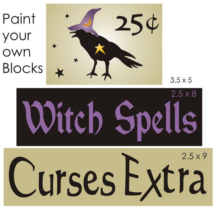 STENCIL Witch Spells Curse Extra Primitive Crow Halloween Magic Star Sign Blocks #StencilsbyJoanie