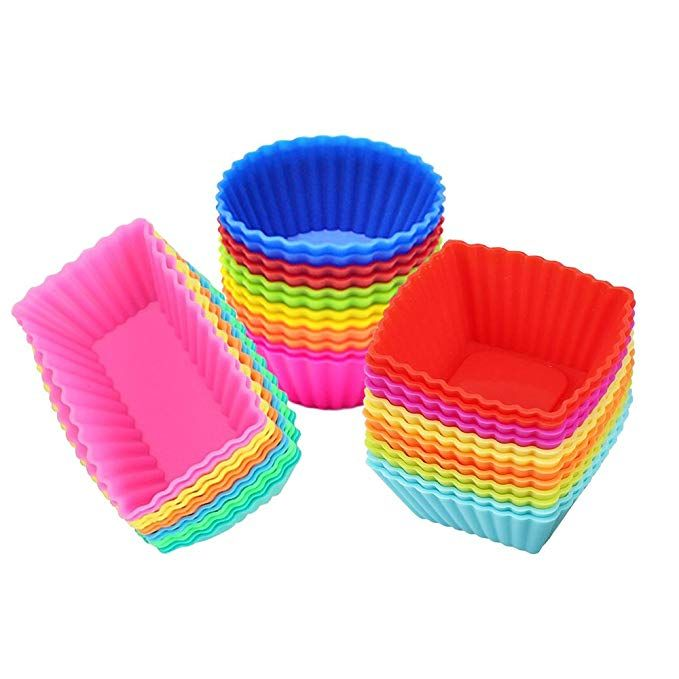 Amazon Com Silicone Cupcake Muffin Baking Cups Liners 36 Pack