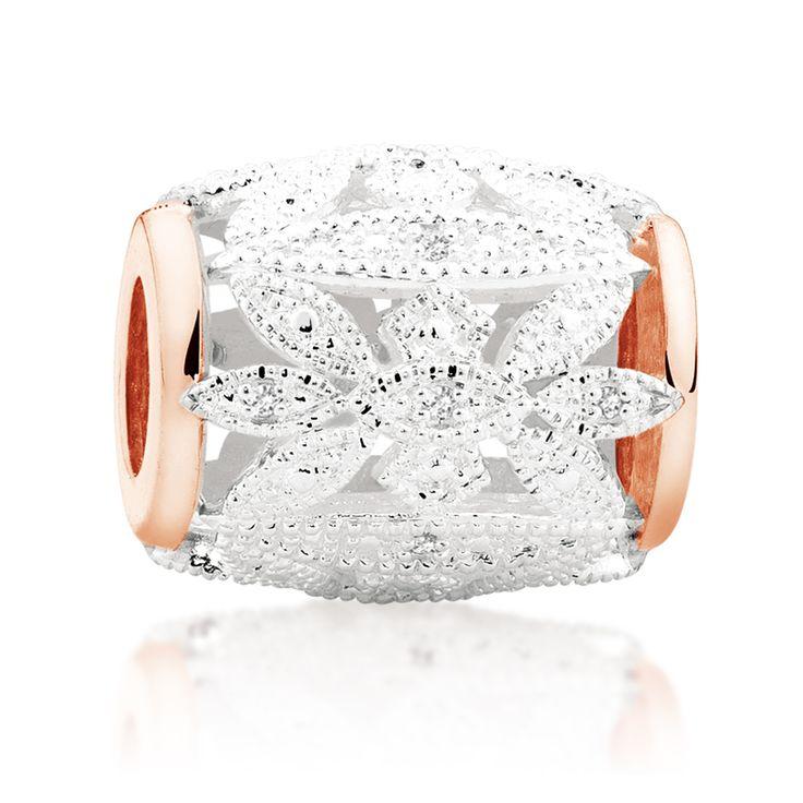 Diamond set, rose gold  sterling silver charm (11989998) #rosegold #emmaandroe