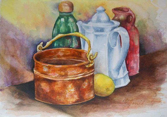 vintage watercolor still life copper pot tea pot jars signed